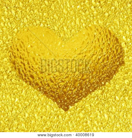 Frozen Golden Heart With Crystals