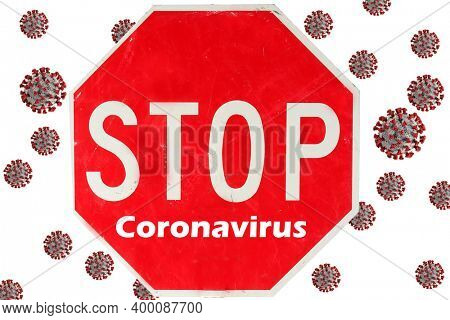 Red Stop Sign. Stop sign reads STOP CORONAVIRUS isolated on white with Coronavirus logo in background. Covid-19 is around the world and dangerous. Stay Safe. Coronavirus Christmas.