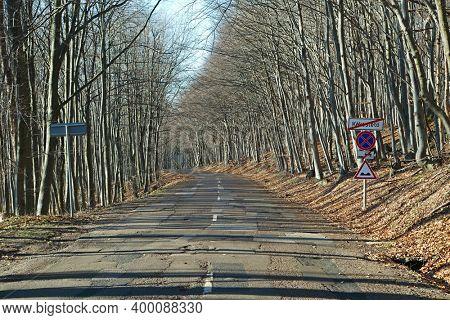 Scenic mountain road driving at Kekesteto, sign marks the end of Kekesteto settlement in Hungary