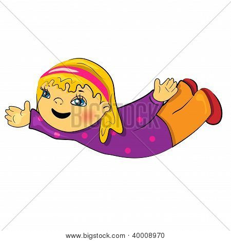 baby girl doing yoga cartoon illustration