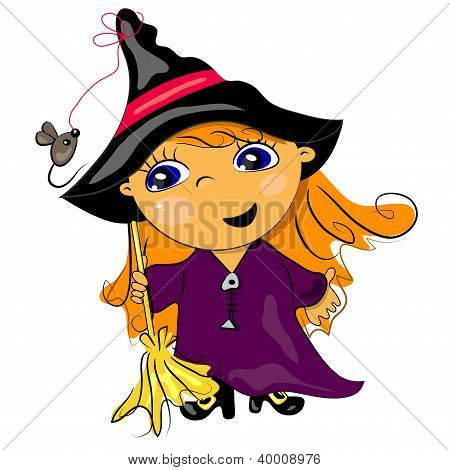 halloween witch holding broom. autumn holiday illustration