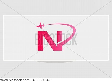 Air Travel Logo Design With N Letter. N Letter Concept Air Plane And Travel Logo.