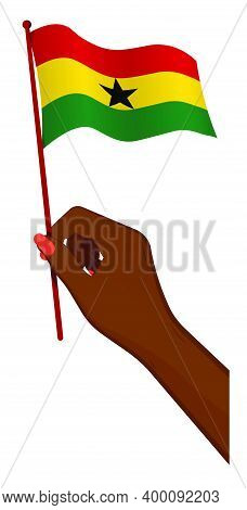Female Hand Gently Holds Small Ghana Flag. Holiday Design Element. Cartoon Vector On White Backgroun