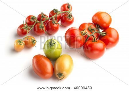 three tomato varieties isolated on white background