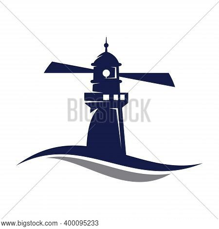 Lighthouse In Flat Style Vector. Sea Lighthouse. Lighthouse Building Design Vector Template. Vector