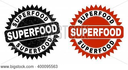 Black Rosette Superfood Stamp. Flat Vector Distress Stamp With Superfood Message Inside Sharp Star S