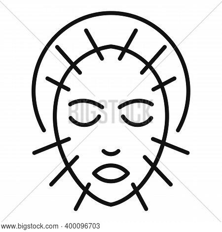 Face Acupuncture Icon. Outline Face Acupuncture Vector Icon For Web Design Isolated On White Backgro