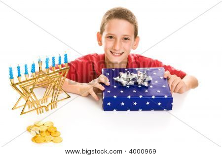 Happy Boy On Hanukkah