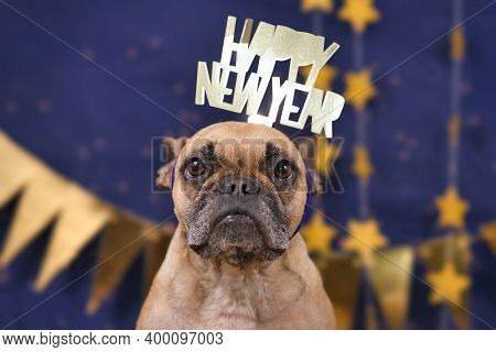 Cute French Bulldog Dog Wearing New Year's Eve Party Celebration Headband With Text 'happy New Year'