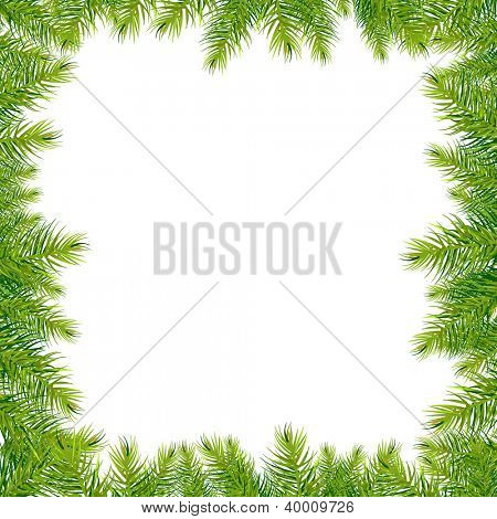 Frame With Christmas Tree With Gradient Mesh, Vector Illustration