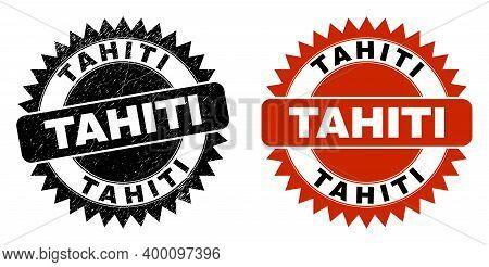 Black Rosette Tahiti Stamp. Flat Vector Distress Seal Stamp With Tahiti Phrase Inside Sharp Rosette,