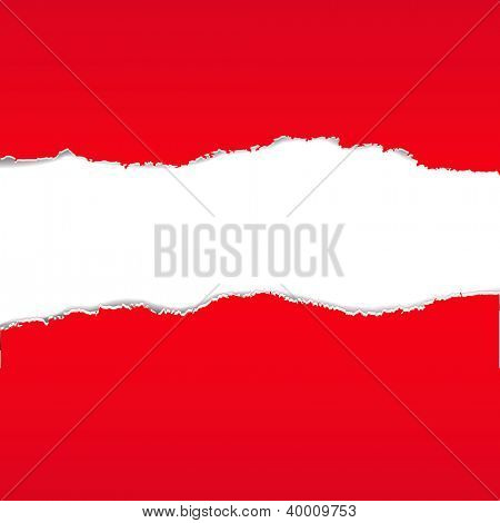 Red Torn Paper Borders Background With Gradient Mesh, Vector Illustration