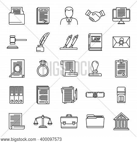 Legal Notary Icons Set. Outline Set Of Legal Notary Vector Icons For Web Design Isolated On White Ba