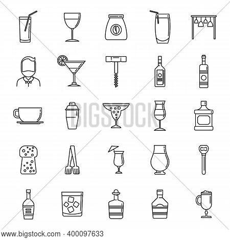Bartender Man Icons Set. Outline Set Of Bartender Man Vector Icons For Web Design Isolated On White