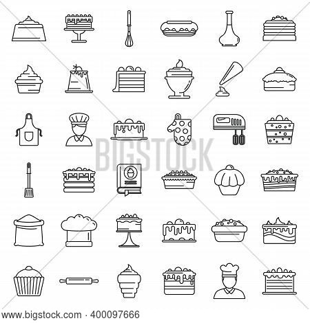 Confectioner Home Icons Set. Outline Set Of Confectioner Home Vector Icons For Web Design Isolated O