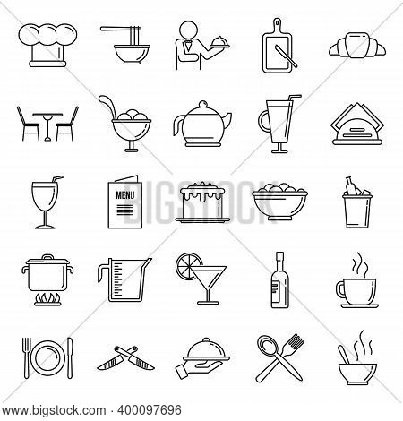 Restaurateur Baker Icons Set. Outline Set Of Restaurateur Baker Vector Icons For Web Design Isolated