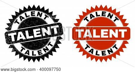 Black Rosette Talent Seal Stamp. Flat Vector Grunge Seal Stamp With Talent Message Inside Sharp Rose