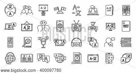 Foreign Translator Icons Set. Outline Set Of Foreign Translator Vector Icons For Web Design Isolated