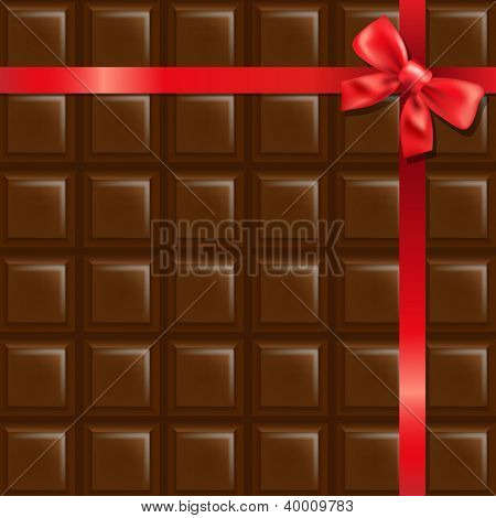 Chocolate With Red Bow With Gradient Mesh, Vector Illustration