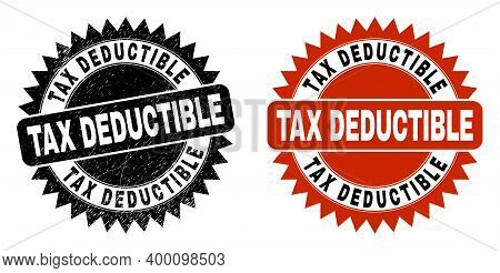 Black Rosette Tax Deductible Seal Stamp. Flat Vector Distress Stamp With Tax Deductible Text Inside