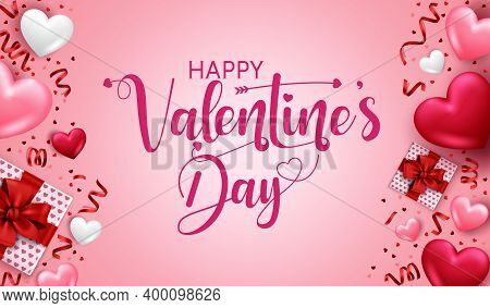 Valentines Day Vector Banner Template. Happy Valentine's Day In Empty Space For Messages With Valent