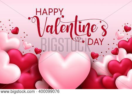 Valentines Day Vector Background Template. Happy Valentine's Day Text In Empty Space For Love Messag