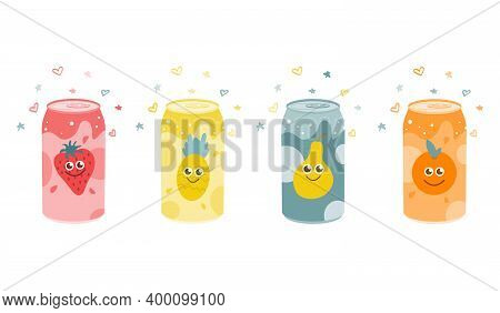 Set Of Fruit Carbonated Drinks. Strawberry, Pineapple, Orange, Pear. Vector Flat Illustration On A W