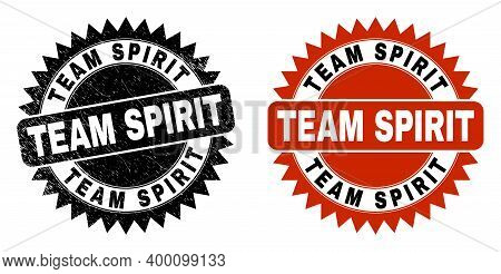 Black Rosette Team Spirit Watermark. Flat Vector Grunge Seal With Team Spirit Title Inside Sharp Ros