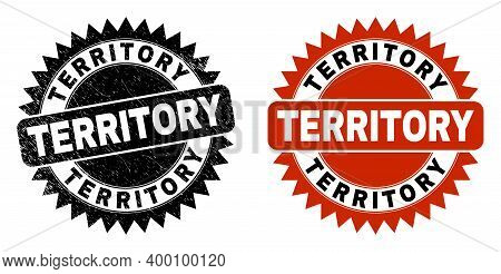 Black Rosette Territory Seal Stamp. Flat Vector Grunge Seal Stamp With Territory Caption Inside Shar