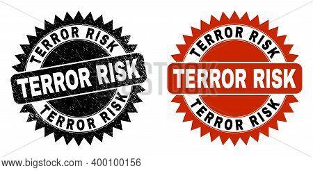 Black Rosette Terror Risk Watermark. Flat Vector Textured Watermark With Terror Risk Phrase Inside S