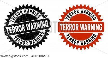 Black Rosette Terror Warning Seal Stamp. Flat Vector Grunge Seal Stamp With Terror Warning Message I