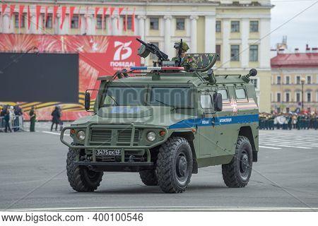 Saint Petersburg, Russia - June 20, 2020: Car Gaz Tigr-m Vpk-2331 Military Traffic Police On The Reh