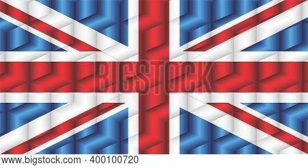 United Kingdom Flag From Many Cubes - Illustration,  Three Dimensional Flag Of United Kingdom