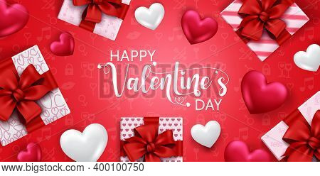 Valentine's Vector Banner Background. Happy Valentine's Day Text With Gift And Heart Valentine Eleme
