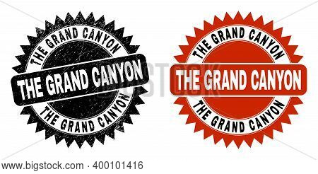 Black Rosette The Grand Canyon Seal Stamp. Flat Vector Textured Seal Stamp With The Grand Canyon Tit