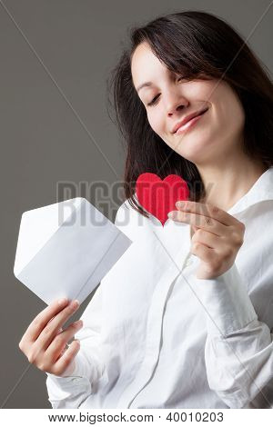 Woman with Heart and Envelope