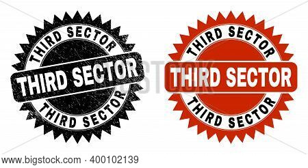 Black Rosette Third Sector Seal. Flat Vector Grunge Seal Stamp With Third Sector Text Inside Sharp R