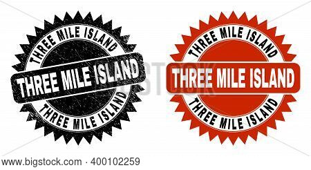 Black Rosette Three Mile Island Stamp. Flat Vector Distress Watermark With Three Mile Island Text In