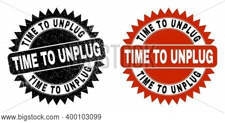 Black Rosette Time To Unplug Stamp. Flat Vector Grunge Seal Stamp With Time To Unplug Title Inside S