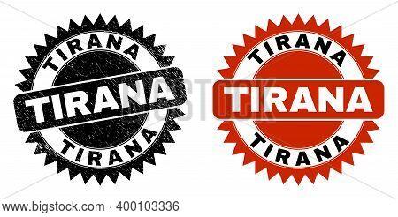 Black Rosette Tirana Watermark. Flat Vector Textured Watermark With Tirana Caption Inside Sharp Rose