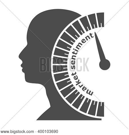 Market Sentiment Level Scale With Arrow. The Measuring Device. Head Of Man Silhouette.