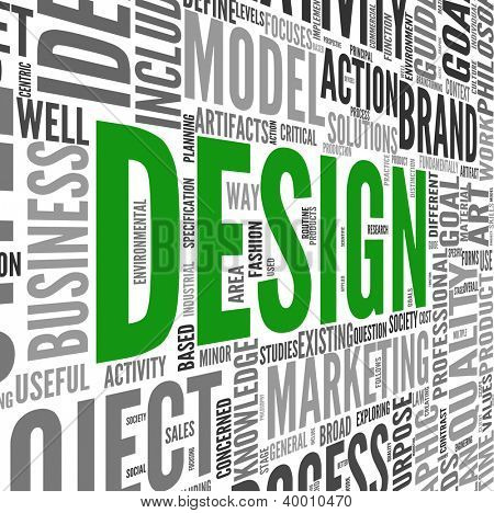 Design concept in tag cloud on white