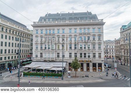 Vienna, Austria - August 30, 2020: Hotel Sacher In The Innere Stadt First District Of Vienna.