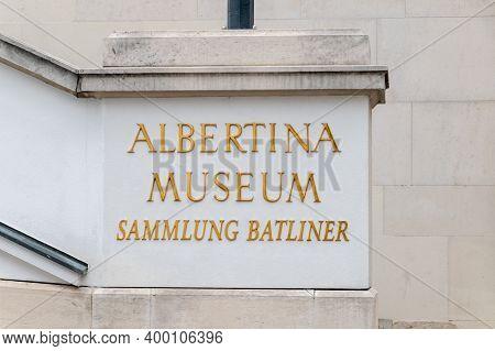 Vienna, Austria - August 30, 2020: Sign Albertina Museum Sammlung Batliner. Albertina Is A Museum In
