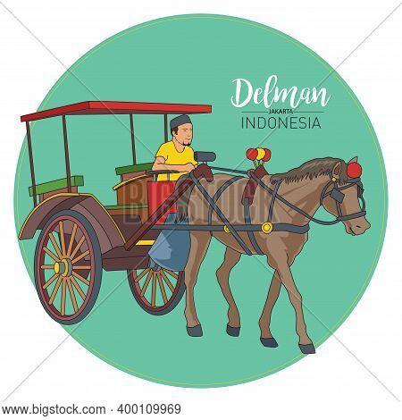 Vector Stock Of Delman, The Jakarta Traditional Transportation Origin Indonesia.