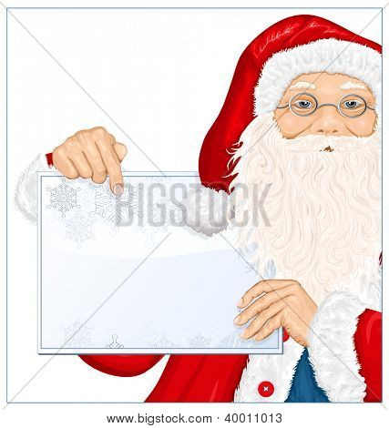 Santa Claus holds banner for text. Rasterized version of vector illustration.