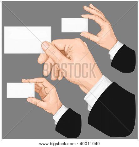 Hands holding blank business card with copy-space on gray background. Rasterized version of vector illustration ID: 102517046