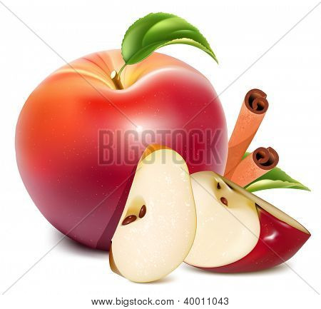 Red apples and apples slices with green leaves and cinnamon. Rasterized version of vector illustration  ID: 114468493