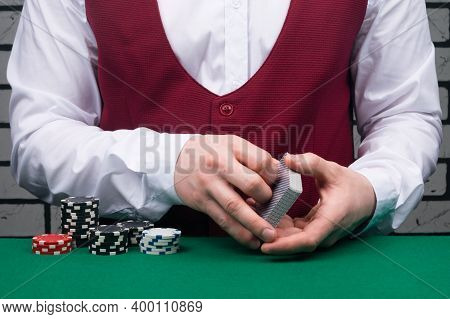 Croupier, Playing Cards And Chips For Playing Blackjack, Close-up