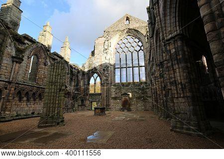 The Holyrood Abbey In Edinburgh, Scotland. High Quality Photo